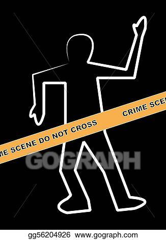 Clip Art - Dead body outline with crime scene   Stock