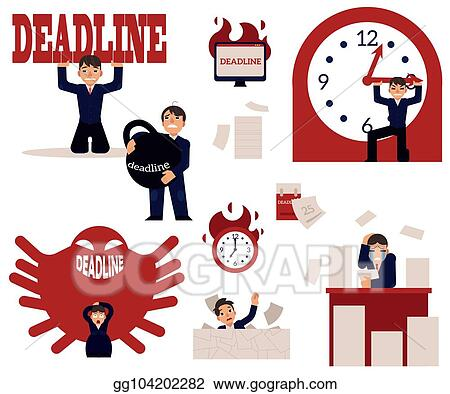 Vector Art Deadline And Time Management Concept Elements Set With Overworked Stressed Businessman Clipart Drawing Gg104202282 Gograph