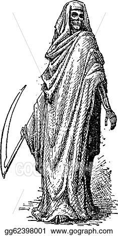 Vector Art Death Or The Grim Reaper Vintage Engraving Clipart
