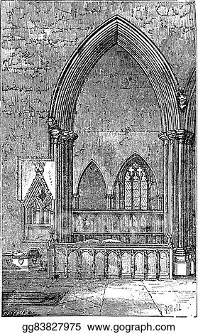 Decoracted Gothic Arch In Dorchester Abbey On Thames Oxfordshire England Old Engraving