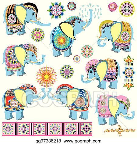 Vector Stock Decorated Cartoon Elephants Clipart Illustration Gg97336218 Gograph