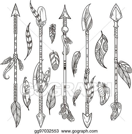 EPS Illustration - Decorative arrows and feathers set in
