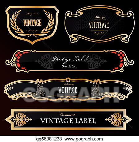 vector illustration decorative black golden labels vector eps