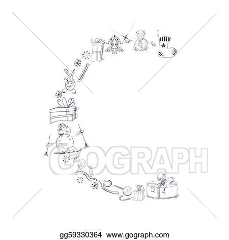 eps vector decorative christmas font letters c stock clipart illustration gg59330364