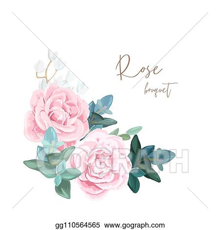 vector clipart decorative corner composition of pale roses white spring flowers eucalyptus and succulents light floral bouquet for wedding invitations and romantic cards hand drawn vector illustration vector illustration gg110564565 gograph https www gograph com clipart license summary gg110564565