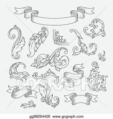 vector illustration decorative elements in baroque style victorian ornament acanthus leaves stock clip art gg98264426 gograph https www gograph com clipart license summary gg98264426