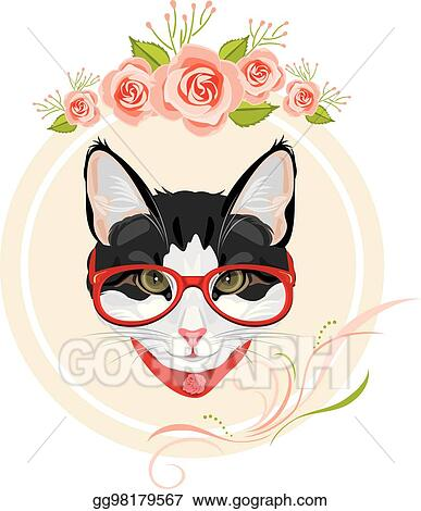 d7b46b304efc Decorative frame with pink roses and portrait of a funny cat with red  glasses