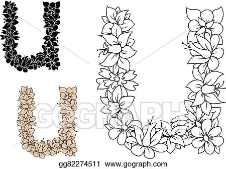 vector art decorative letter u with vintage floral pattern