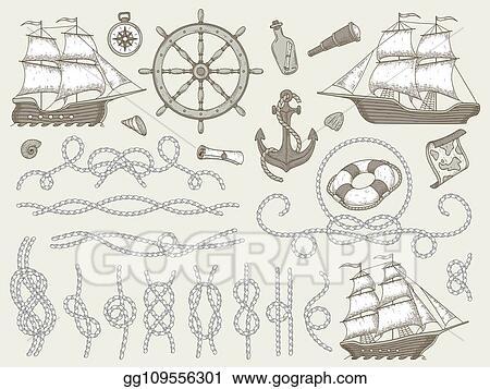 Vector Stock - Decorative marine elements  sea rope frames, sailing