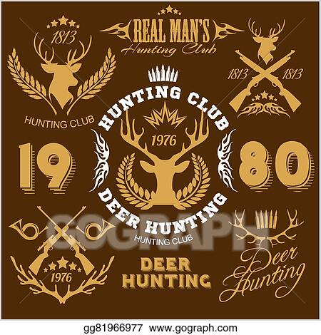 Clip Art Vector Deer Hunting Set Of Badges Labels Logo Design
