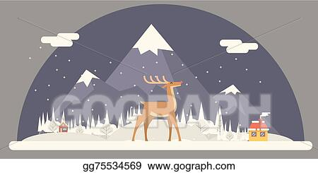 deer rudolph winter snow countryside landscape city village real estate new year christmas night and day background modern flat design icon template vector