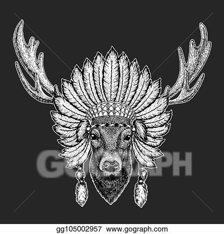 f1dff51122f3a Deer Traditional ethnic indian boho headdress Tribal shaman hat Ceremonial  element