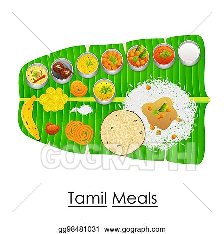 Vector Art - Delicious tamil meal on banana leaf. EPS ...