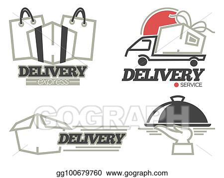 clip art vector delivery logo templates set for post mail food or