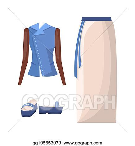 Vector Illustration Denim Jacket Long Skirt With Belt And