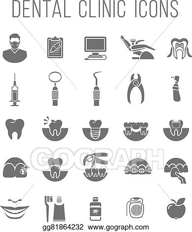 Dental Clinic Services Flat Silhouettes Icons