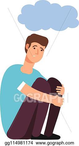 Vector Clipart Depressed Man Depression Concept Homeless Upset Ashamed Afraid Lonely Person Sadness Shame Gloomy Guy Cartoon Vector Vector Illustration Gg114981174 Gograph