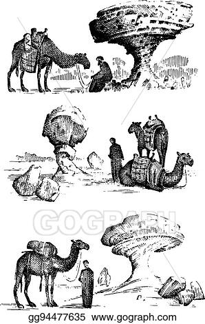 Vector Art - Desert landscape with arab and camel next to