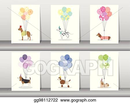 Design Of Cute Animal Cards Poster Template Greeting Sweet Balloons Dogs Vector Ilrations