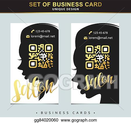 Vector Art Design Template Business Card For Beauty Salon With Qr
