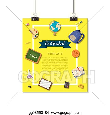 Eps Vector Design Template Vertical Banner For School Accessories
