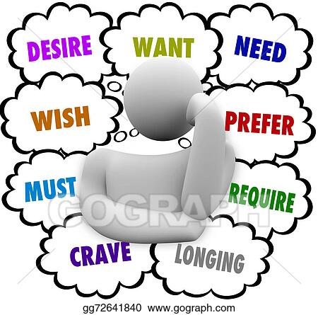 stock illustration desire want wish need thinker thought cloud rh gograph com thinking clipart black and white thinking clipart no background