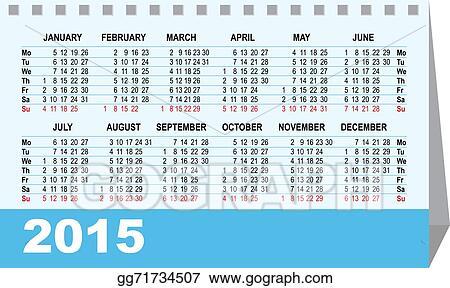 Vector Illustration Desk Calendar 2015 Template Stock Clip Art