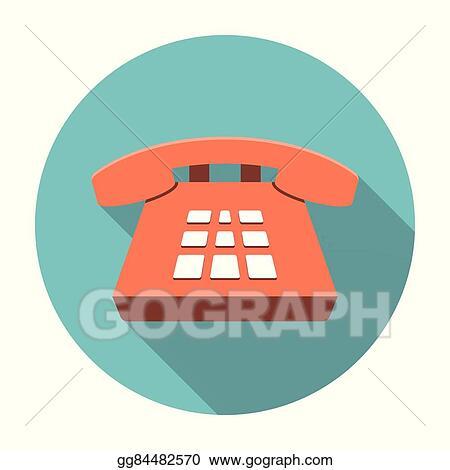 Vector Illustration - Desk phone icon flat  Stock Clip Art