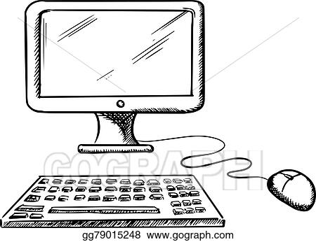 Vector Art - Desktop computer with mouse and keyboard