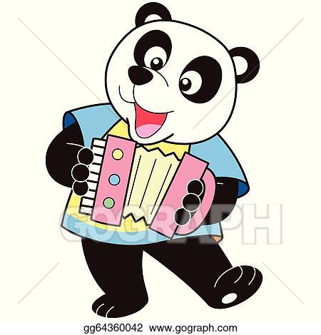 Clip Art Vectoriel Dessin Animé Panda Jouer Une