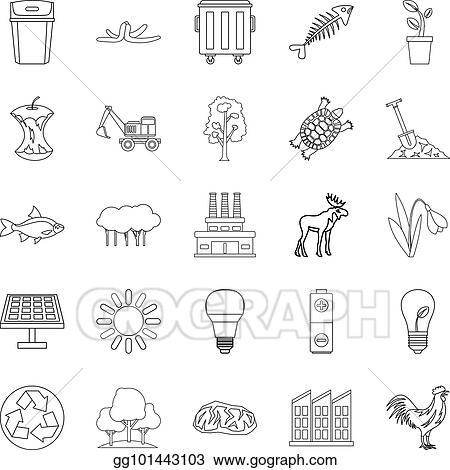 Vector Art - Destruction of nature icons set, outline style. EPS ... 3e6e3e42b3