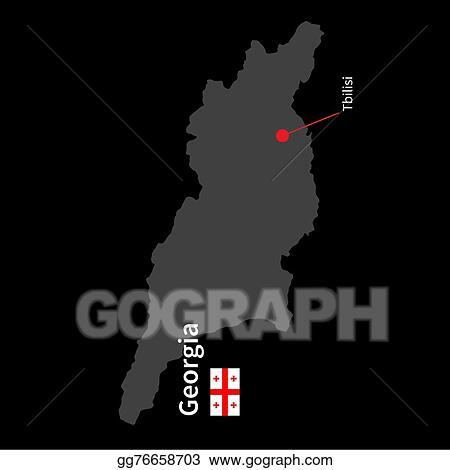 Map Of Georgia With Capital.Vector Art Detailed Map Of Georgia And Capital City Tbilisi With