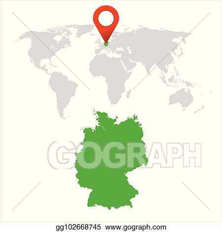Vector Illustration - Detailed map of germany and world map ...
