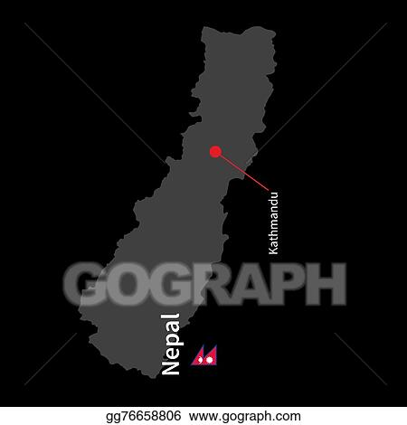 Vector Illustration - Detailed map of nepal and capital city ...
