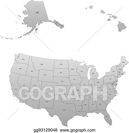 Vector Illustration - Detailed map of the united states. Stock Clip on hawaii map america, hawaii became the 50th state, hawaii waterfall, hawaii and capital map, japan hawaii map, hawaii interstate highway signs, hawaii state capital map, hawaii islands maps outline, hawaii lanai shipwreck beach, new england mid-atlantic states map,
