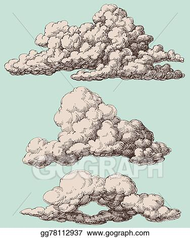 EPS Vector - Detailed vintage style clouds vector set  Stock Clipart