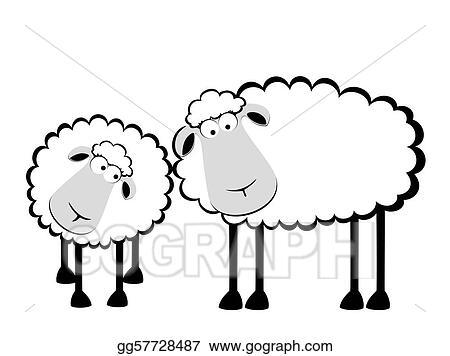 Clip Art Vectoriel Deux Dessin Animé Sourire Mouton