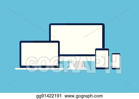 vector art devices set computer tablet phone laptop monitor