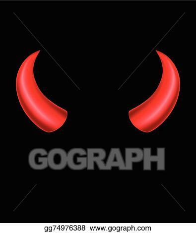 Vector Clipart Devil Horns On Black Background Vector
