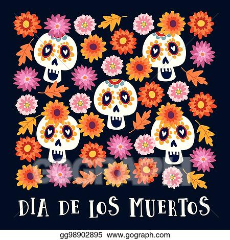 8e7d01bf978 Vector Stock - Dia de los muertos or halloween greeting card ...