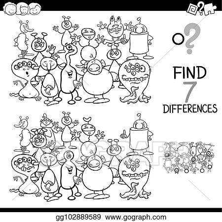 Eps Vector Differences Game With Aliens Coloring Book Stock