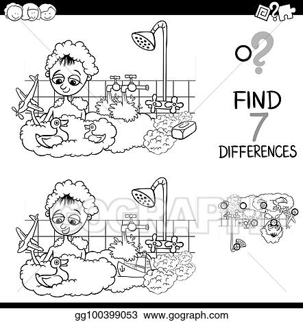 Vector Art - Differences with boy in bath color book. EPS ...