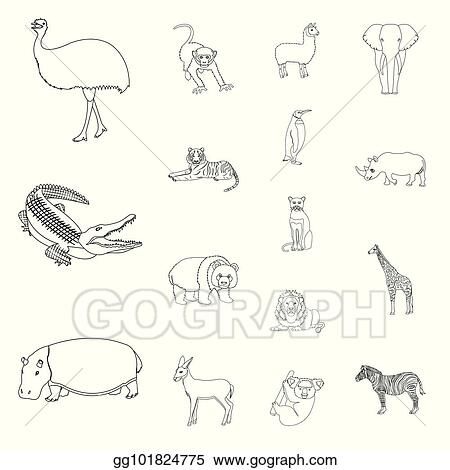 Vector Art Different Animals Outline Icons In Set Collection For