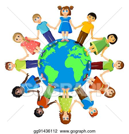vector art different children standing around earth planet earth clip art free planet earth clip art black white image