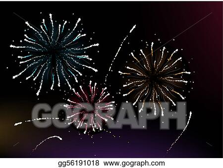 vector art vector illustration of different fireworks lighting up the sky in black background great for celebration and festive works