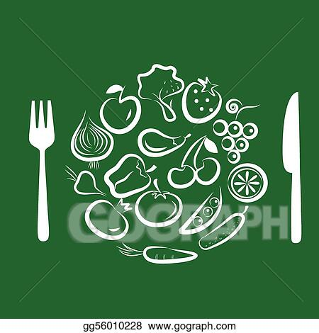 Vector Art - Different fruits and vegetables combined in round frame ...