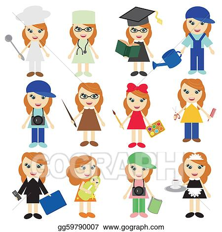 eps illustration different jobs girls on white vector clipart rh gograph com jobs clipart free job clipart