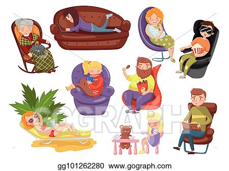 Different People Sitting And Lying On Different Chairs, Sedentary Lifestyle  Cartoon Vector Illustrations