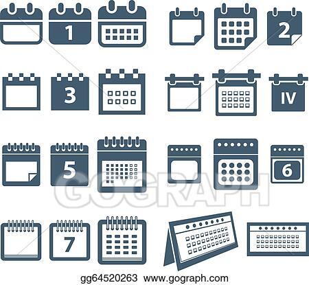 Clip Art Vector - Different Styles Of Calendar Web Icons