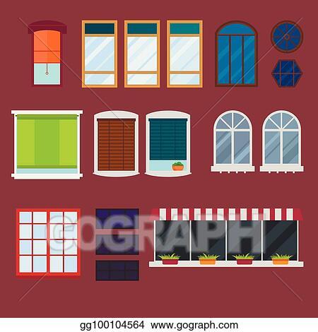 Vector Illustration - Different types house windows elements flat ...
